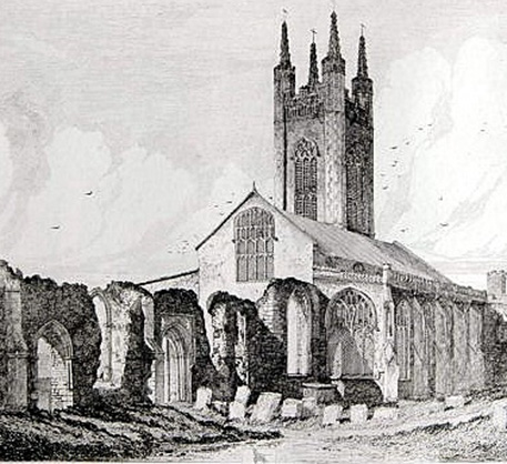 Etching of St Mary's Church in Bungay.